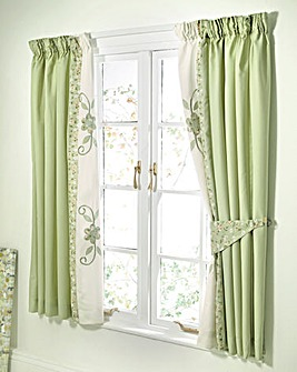 Willow Puffball Lined Curtains & Tie Bks