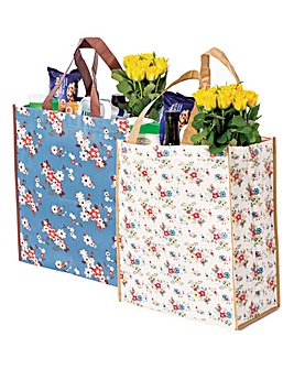 Flower Print Shoppers Set of 2
