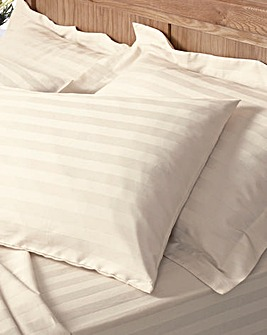 300TC Sateen Stripe Fitted Sheet Pack 2