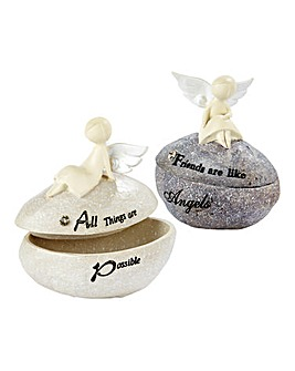 Set of Two Angel Trinket Boxes