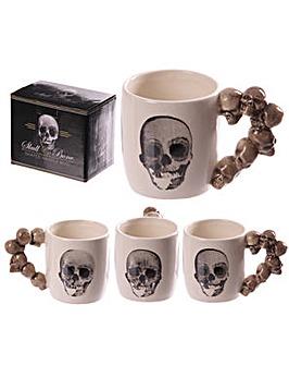 Skulls Shaped Handle Ceramic Mug