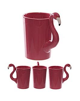 Shaped Handle Novelty Pink Flamingo Mug