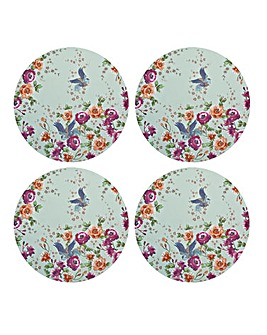 Monsoon Kyoto Blue Round Placemats X4