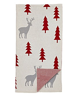 Reindeer Knitted Throw