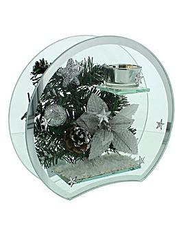 Silver Round Glass Tea Lite Holder