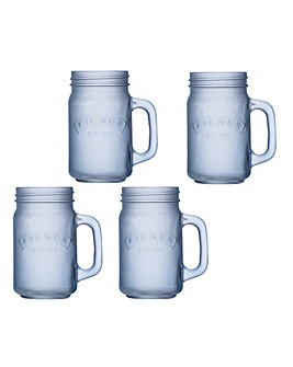 Kilner Frosted 400ml Handled Jar Blue
