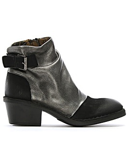 Fly London Rouched Leather Ankle Boots