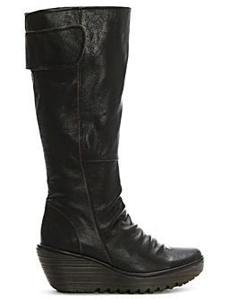 Fly London Ruched Leather Knee Boots