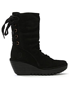 Fly London Suede Tie Wedge Calf Boots