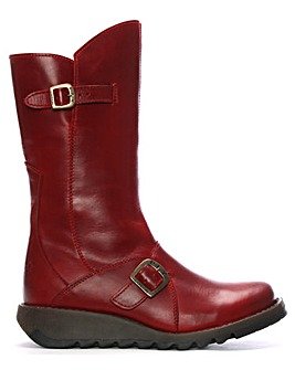Fly London Leather Low Wedge Calf Boots