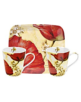 Pimpernel Poppy Mug & Tray Set