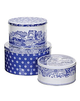 Blue Italian Set Of Three Cake Tins