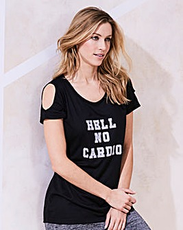 Cold Shoulder Slogan Top