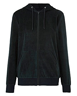 Velour Hooded Zip Jacket