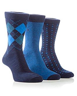 3 Pair Farah Diamond Jaquard Socks