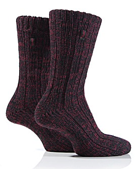 2 Pair Mens Jeep Cable Knit Socks