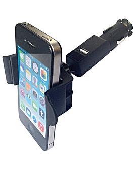 Mobile phone holder with USB plug