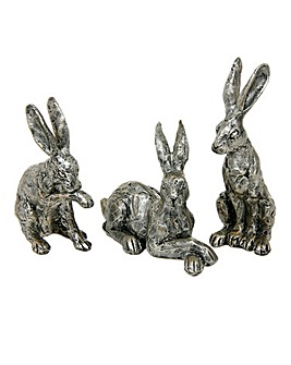 Bronzed Hares Ornaments Set of 3