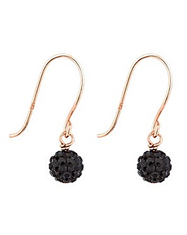 Simply Silver jet pave ball earring