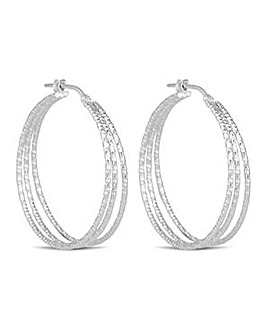 Simply Silver triple hoop earring
