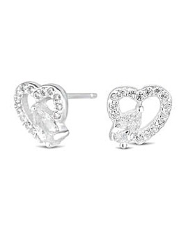 Simply Silver pave heart stud earring