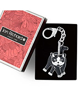 Jon Richard Black cat moveable keyring