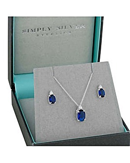 Simply Silver oval pendant necklace set