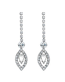 Jon Richard Silver floral drop earring