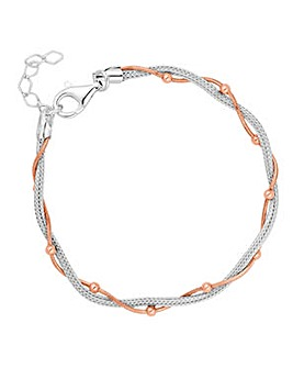 Simply Silver bead twist mesh bracelet