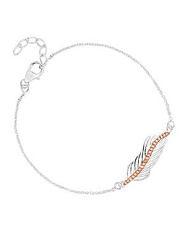 Simply Silver two tone feather bracelet