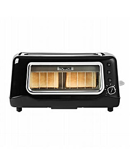 Tower 2 Slice Long Slot Glass Toaster