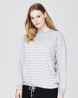 Label Be Dipped Hem Striped Pullover