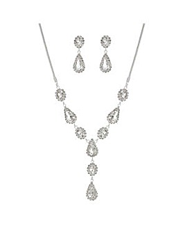 Mood silver crystal y jewellery set