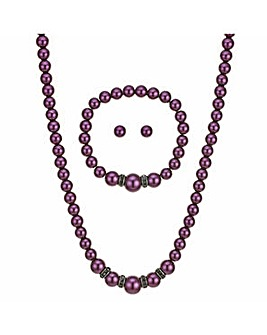 Mood purple pearl jewellery set
