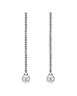 Mood diamante chain pearl drop earring