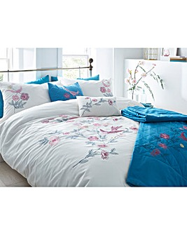 Birds Embroidered Duvet Cover Set