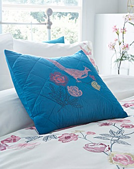 Birds Embroidered Boudoir Filled Cushion