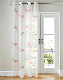 Flamingo Printed Eyelet Voile Panel