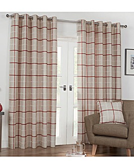 Kendal Woven Check Lined Eyelet Curtains