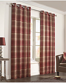 Inverness Woven Check Eyelet Curtains