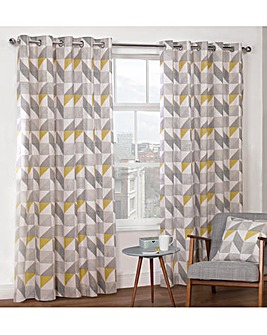 Delta Geo Print Lined Eyelet Curtains