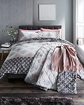 Indra Pink Reversible Duvet Cover Set