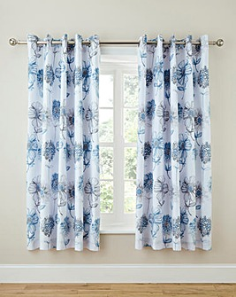 Banbury Pale Blue Floral Lined Curtains