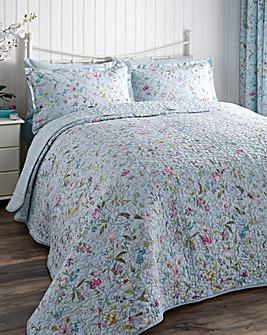 V&A Botanica Aqua Quilted Bedspread