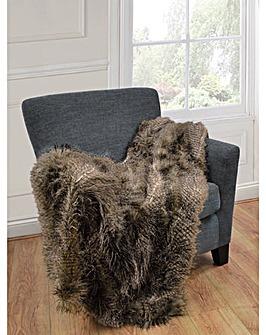 cascade home luxury faux fur throw