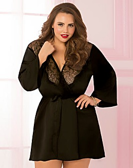 7 Til Midnight Satin&Eyelash Lace Robe