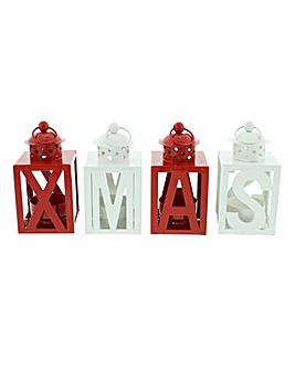 Set of 4 Metal Xmas Lanterns