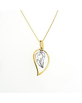 9ct YG Diamond Set Leaf Pendant