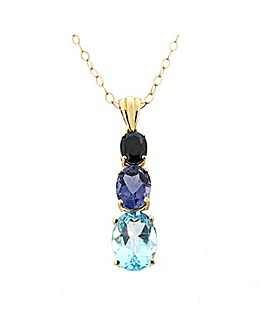 9ct Yellow Gold Blue Drop Pendant