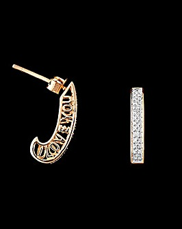 9ct Gold Diamond Message Earrings